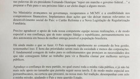 Ministro das Cidades pede demissão e é primeiro tucano a deixar o governo