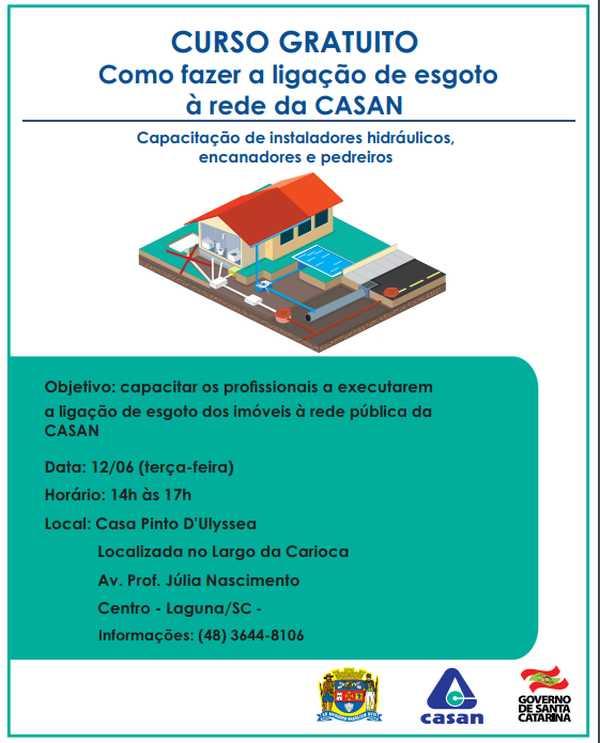 Curso gratuito ensina moradores de Laguna (SC) como fazer a ligação de esgotos ao sistema da Casan