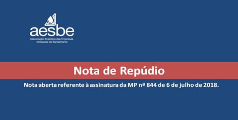 Nota de Repúdio da Aesbe sobre assinatura de Medida Provisória que altera a Lei do Saneamento