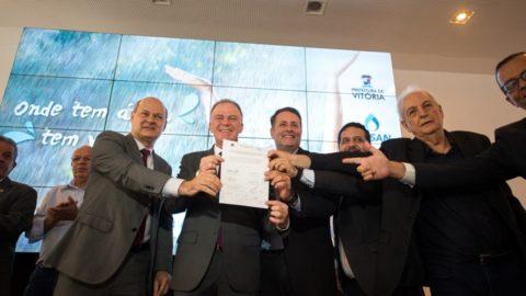 Governo do ES e Município de Vitória assinam contrato e convênios para serviços de saneamento