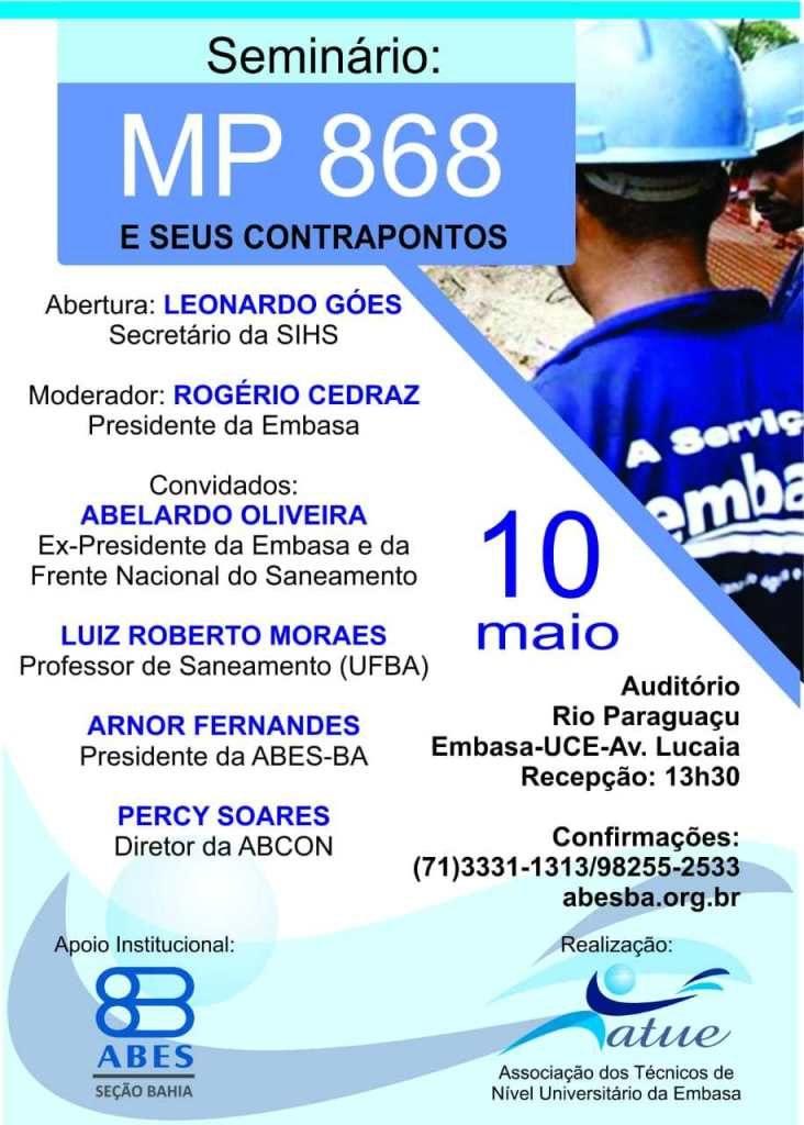 Com apoio da ABES-BA, associação de técnicos da Embasa promoverá em maio seminário sobre MP do Saneamento