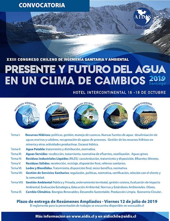 AIDIS promoverá em outubro o XXIII Congresso Chileno de Engenharia Sanitária e Ambiental