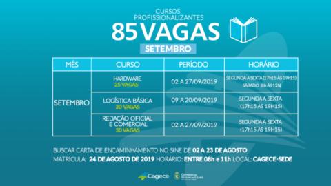 Cagece oferta 85 vagas para cursos profissionalizantes gratuitos no mês de setembro, no Ceará